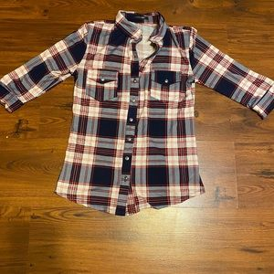 Paper moon button down faux flannel shirt.